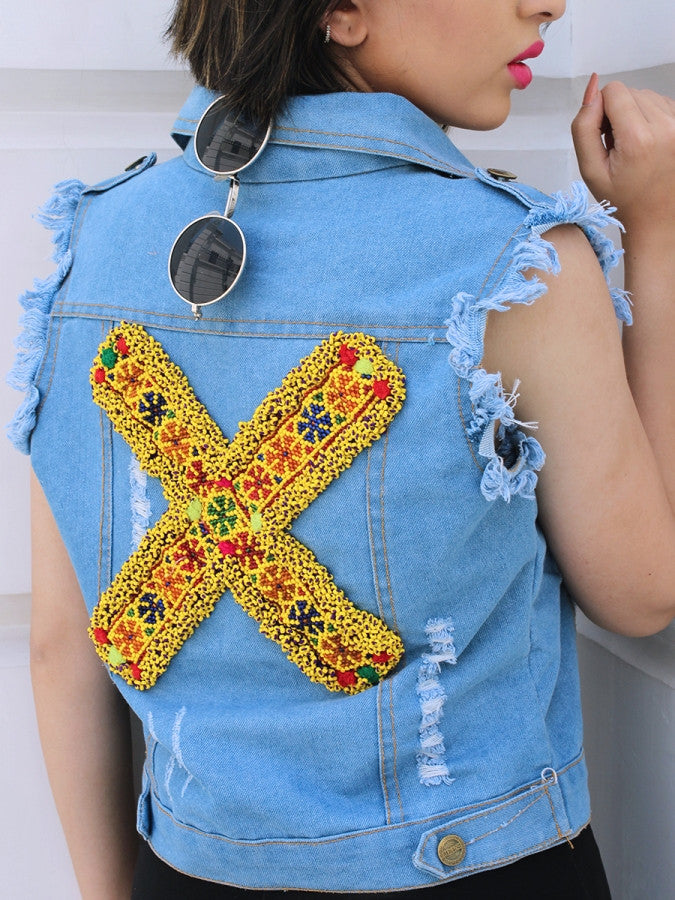 Sasswati Denim Jacket, a hand embroidered blue denim jacket from our designer collection of boho denim jackets for women.