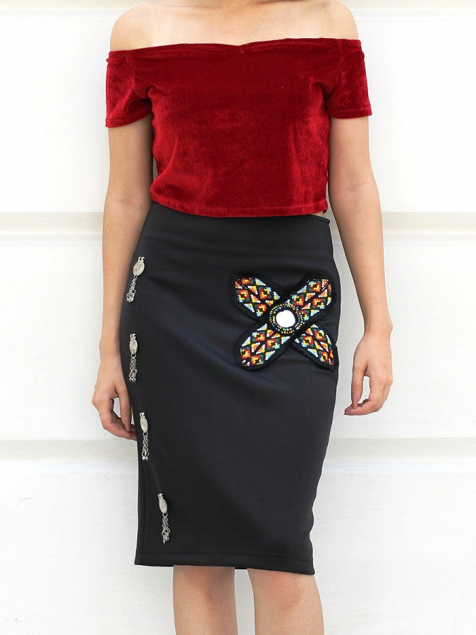 Siya Coin Embellished Pencil Skirt, a hand embroidered designer skirt with tassel detailing from our latest collection of handmade skirts for women online.