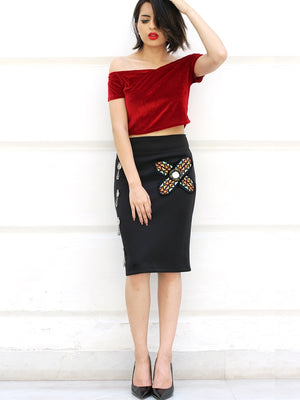 Siya Coin Embellished Pencil Skirt, a hand embroidered designer skirt with mirror detailing from our latest collection of handmade skirts for women.