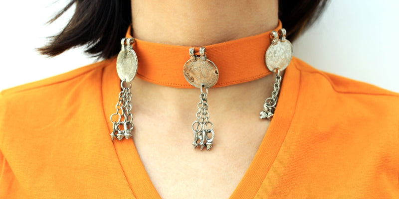 Anvi Coin Choker Top, a quirky boho choker top with ghungroo detailing from our designer collection of tops for women.