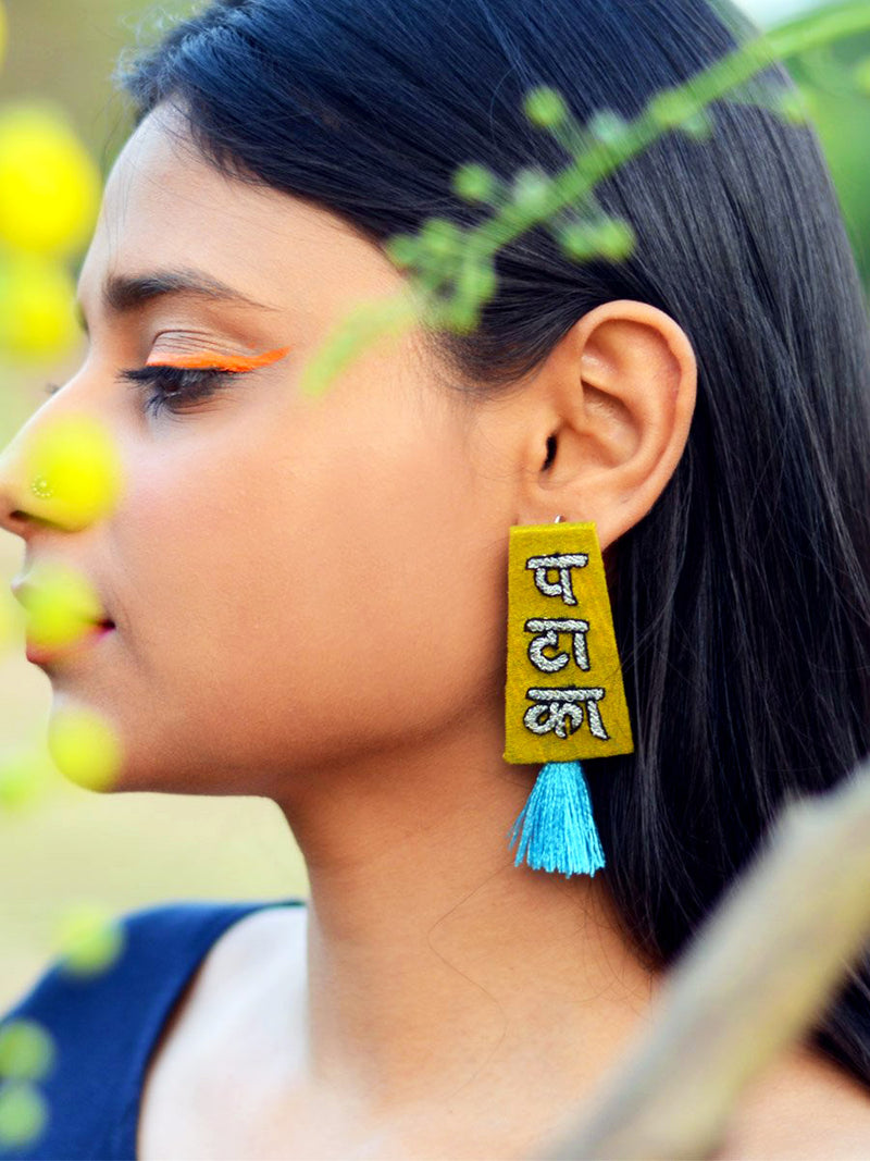 Pataka Embroidered Earrings, a beautifully hand-embroidered earring from our designer collection of boho, Kundan and tassel earrings for women.