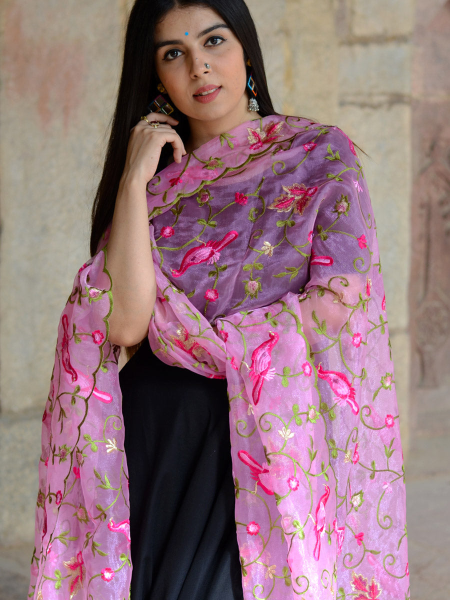 Prakriti Dupatta, a hand embroidered, statement dupatta from our designer collection of dupattas and clothing for women online.