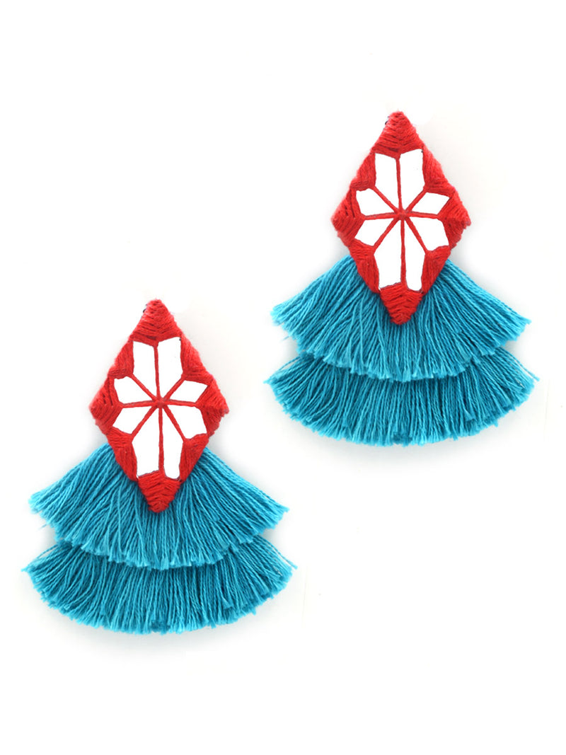 Naaz Hand-Embroidered Tassel Earrings, a beautiful handmade hand embroidered earring with mirror and tassel from our designer collection of earrings for women online.