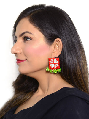 Rabia Hand-embroidered Mirror Earrings, an embroidered mirror earring from our quirky designer collection of earrings for women online.