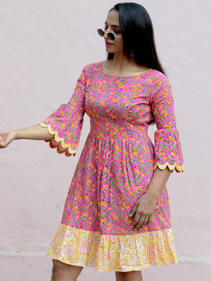 Ruby Scallop Dress, a hand embroidered ultra chic dress from our designer collection of boho and ethnic dresses for women.