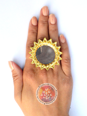 Gota Sun Ring, a unique, hand crafted, gota patti work, mirror ring from our latest designer collection for girls