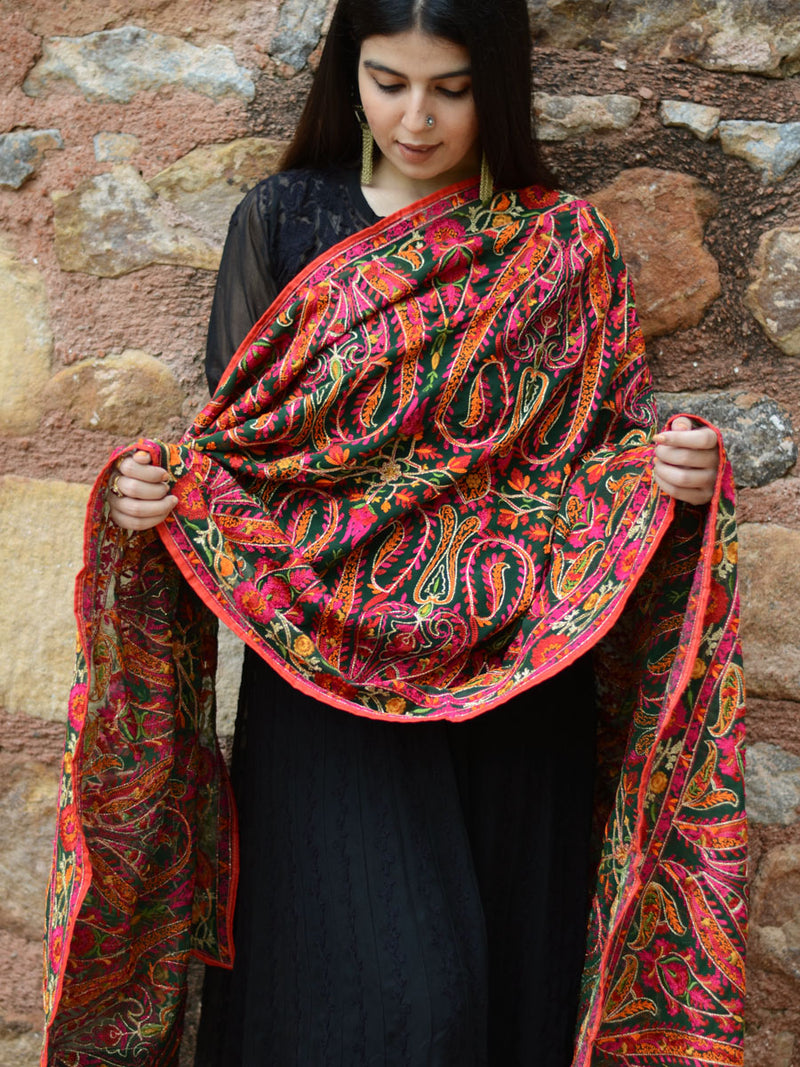 Satrangi Dupatta, a hand embroidered, statement dupatta from our designer collection of dupattas and clothing for women.