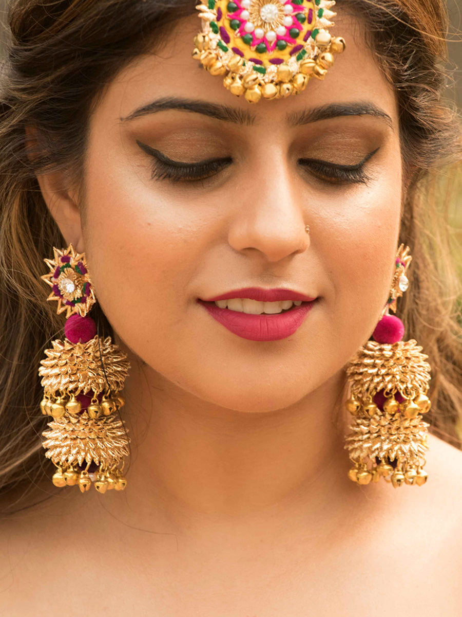 Shehnai Earrings a gorgeous, unique gota earrings with ghungroo and bead detailing from our designer collection of gota earrings for women online.