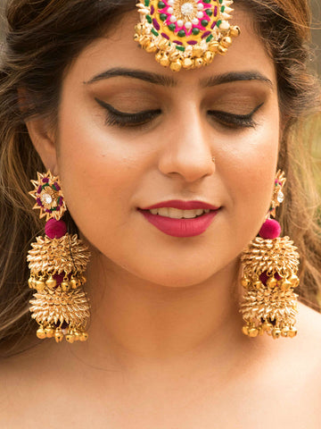 Dilbaro Arch Mirror Kundan Earrings