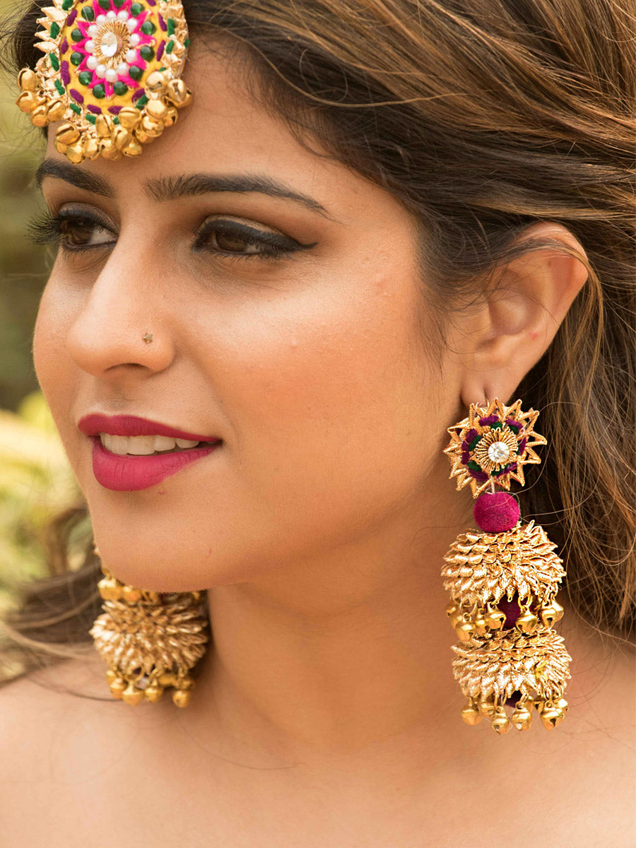 Shehnai Earrings a gorgeous, unique gota patti earrings with ghungroo and bead detailing from our designer collection of gota earrings for women.