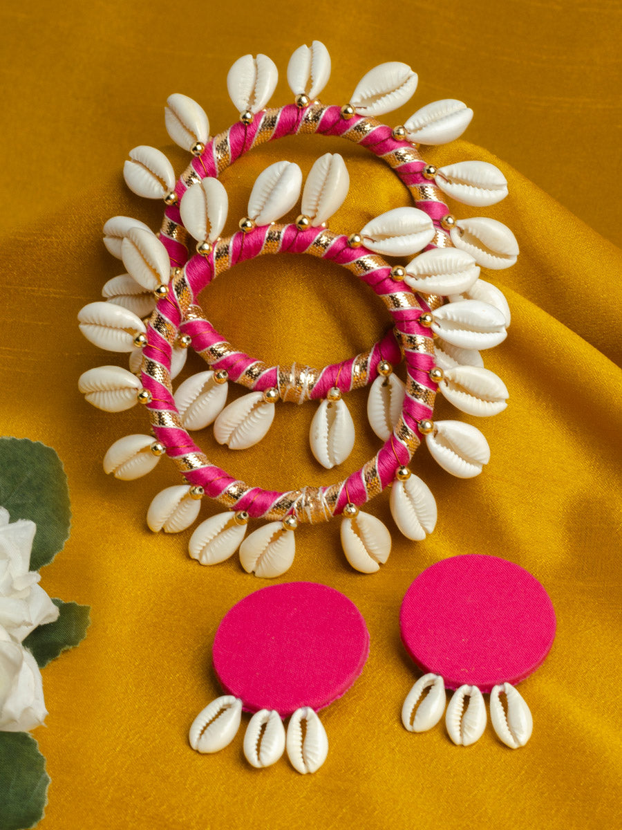 Set Of Shell Bangles + Shell Earrings