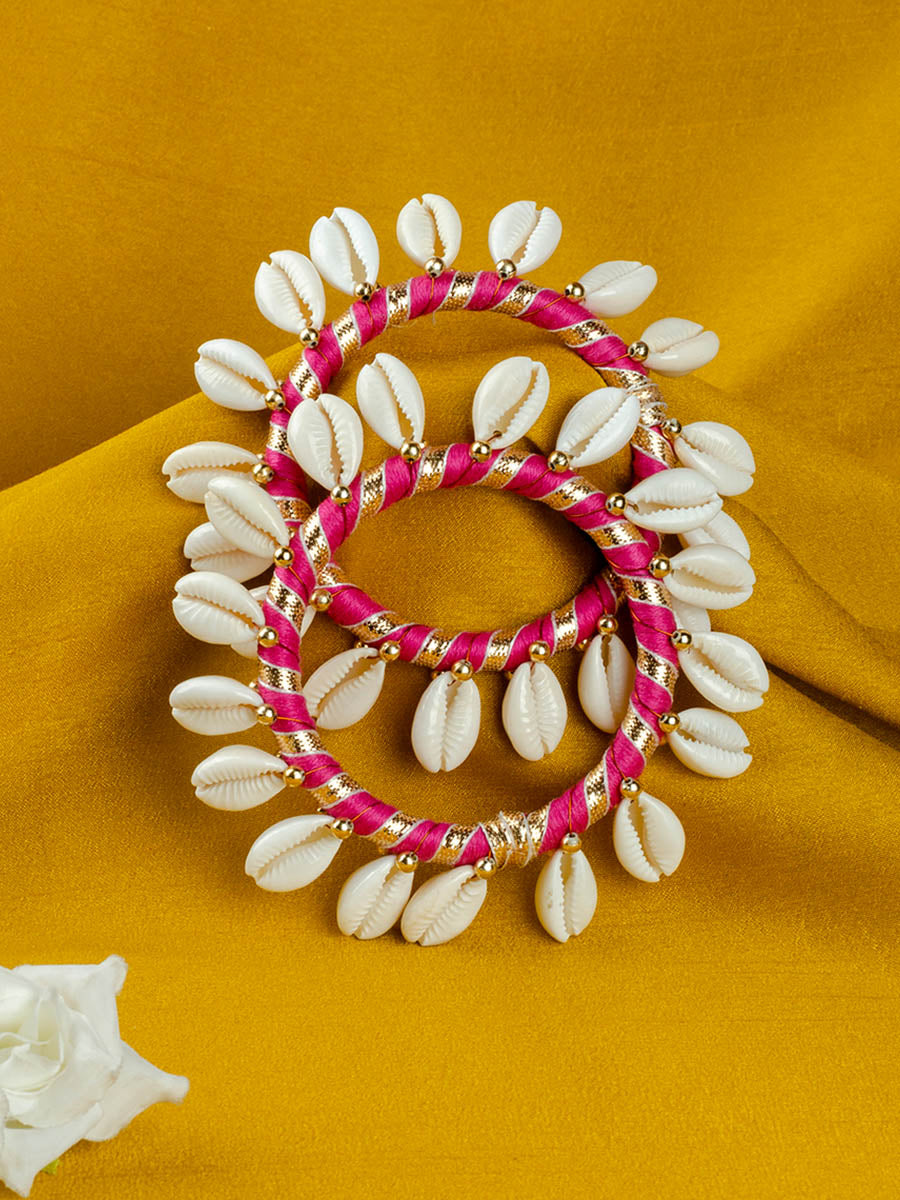 Shell Love Festive Gota Bangles (Set of 2)