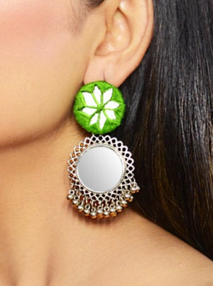 Sophia Hand-embroidered Mirror Earrings, an embroidered mirror earring with bells from our quirky designer collection of earrings for women online.