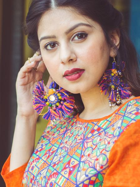 Tiny You're my Sun Earrings, a beautiful handmade hand embroidered earring with mirror and tassel from our designer collection of earrings for women online.
