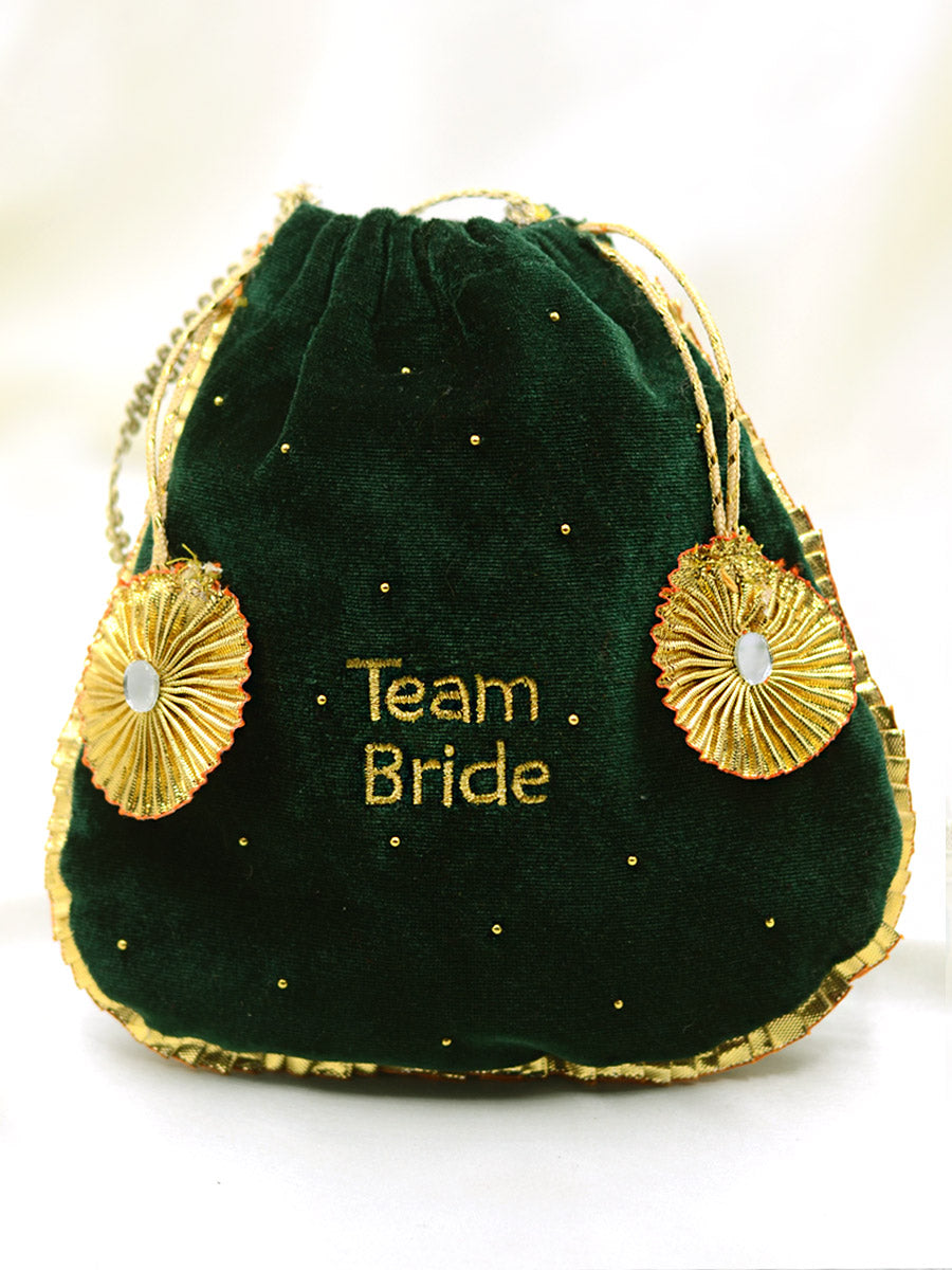 Team Bride Embroidered Gota-patti Potli