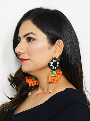 Tribal Elephant Hand-painted Hand-embroidered Earrings, an indo-western mirror earring from our handmade collection of earrings for women.