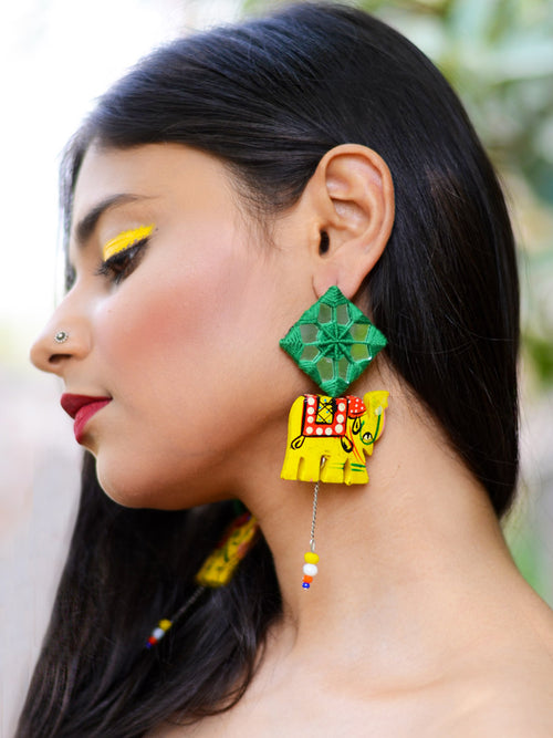 Tribal Elephant Hand-painted Hand-embroidered Earrings