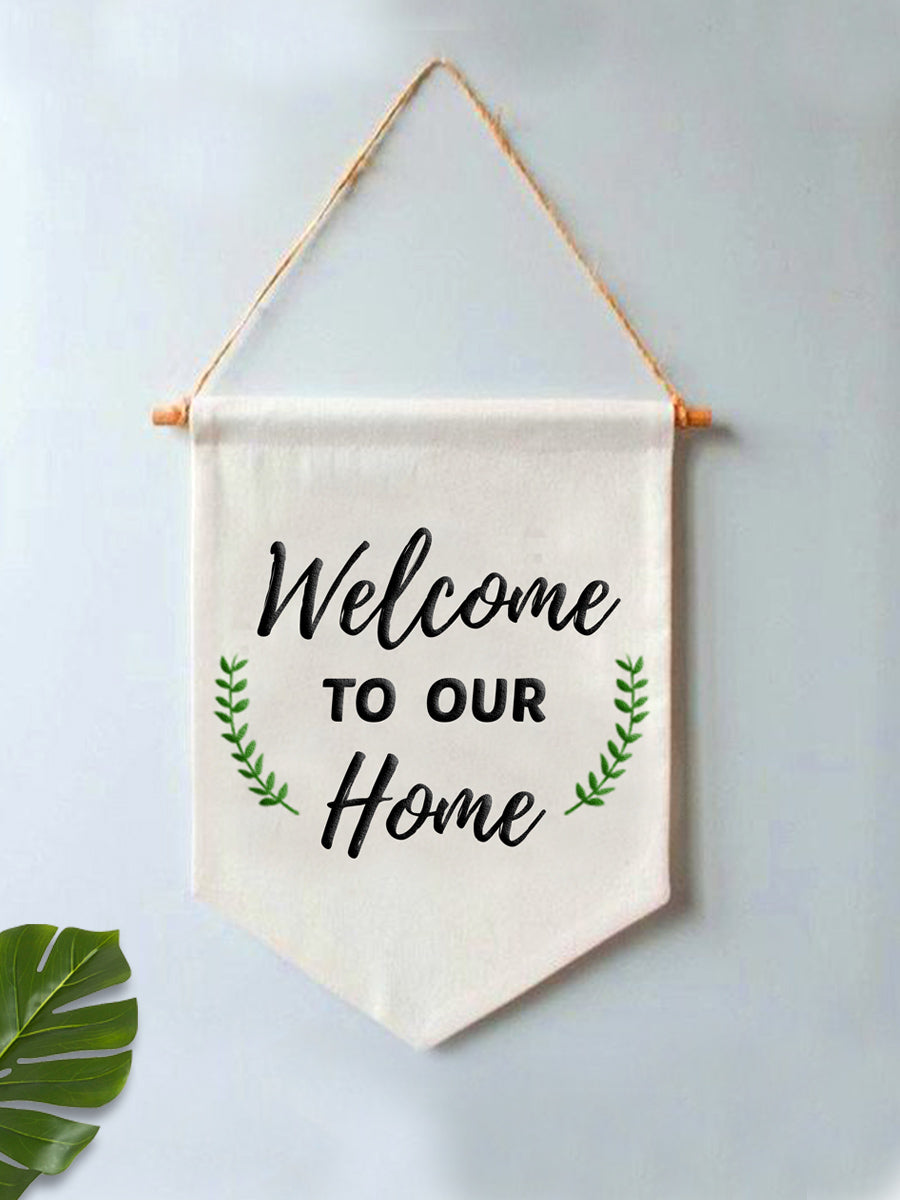 Welcome To Our Home Embroidered Canvas Wall Art