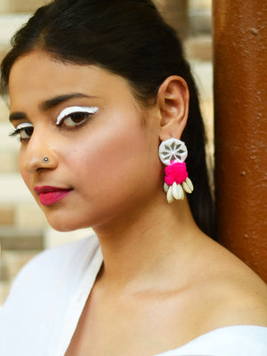 Zoya Pom-pom Shell Earrings, a chic hand embroidered shell earrings with mirror and pom pom detailing from our designer collection of earrings for women.