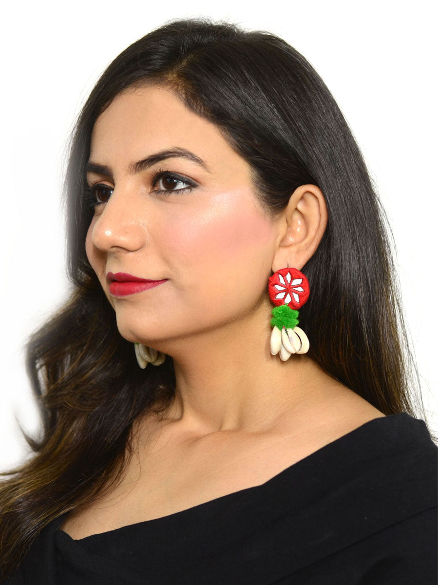 4cf872f63 Zoya Pom-pom Shell Earrings