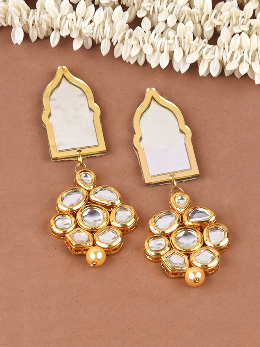 Aaina Kundan Mirror Earrings