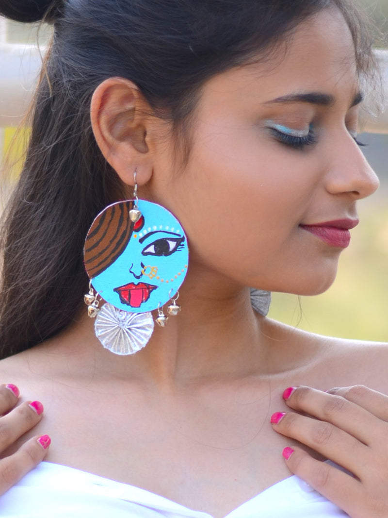 Ameya Earrings, a gorgeous hand painted earring with gota work and silver trinkets from our designer collection of earrings for women.