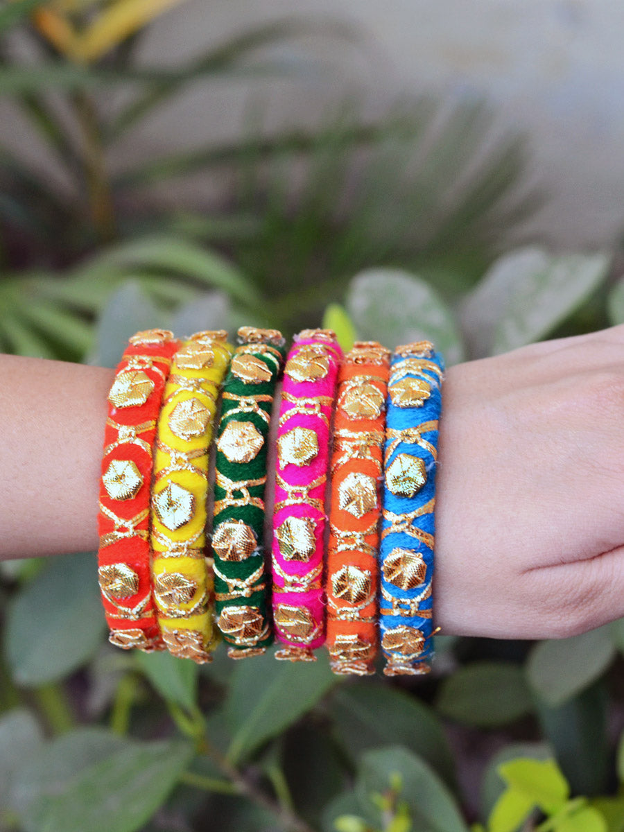 Gota Phool Bangles, a multicoloured gota work, handmade, designer bangle bracelet with ghungroo detailing from our latest collection of hand embroidered bangles for women online.