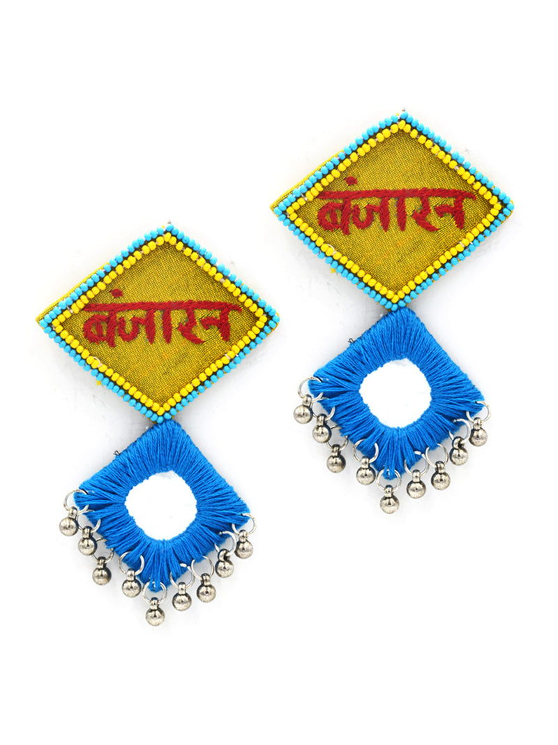 Beautiful Banjaran Mirror Earrings, an embroidered mirror earring with banjara embroidery from our designer collection of earrings for women.
