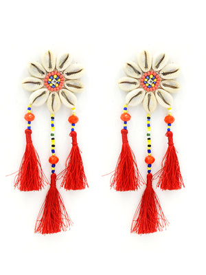 Beach Beauty Shell Earrings, a chic hand embroidered shell earrings from our designer collection of earrings for women.