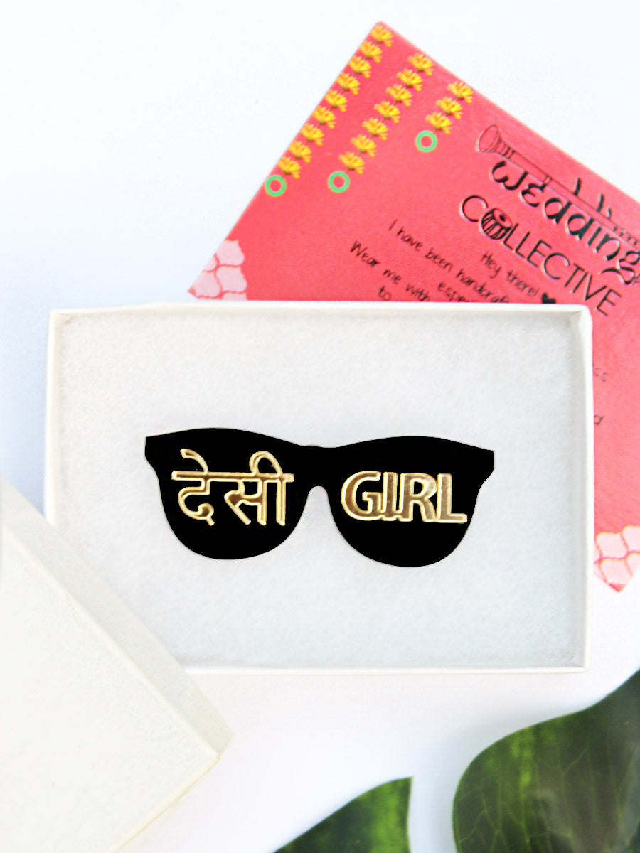 Desi Girl Brooch, a handmade statement brooch from our wide range of latest quirky collection of brooches for women.