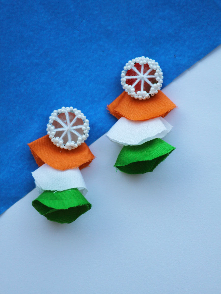 Tricolor Wheel Earrings, a quirky, unique, statement party-wear earrings from our designer collection of earrings for women.