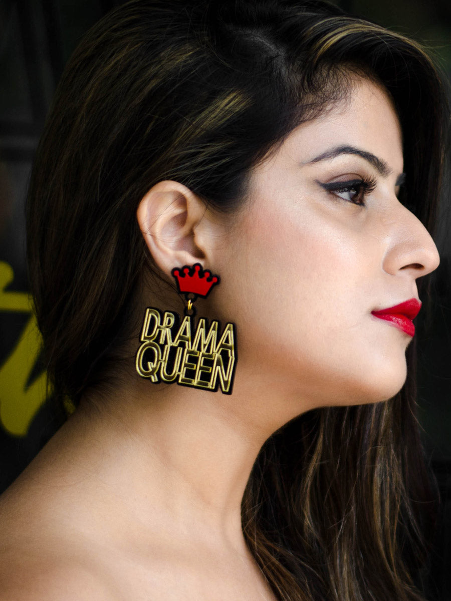 Drama Queen Earrings, a quirky, unique, statement party-wear earrings from our designer collection of earrings for women.