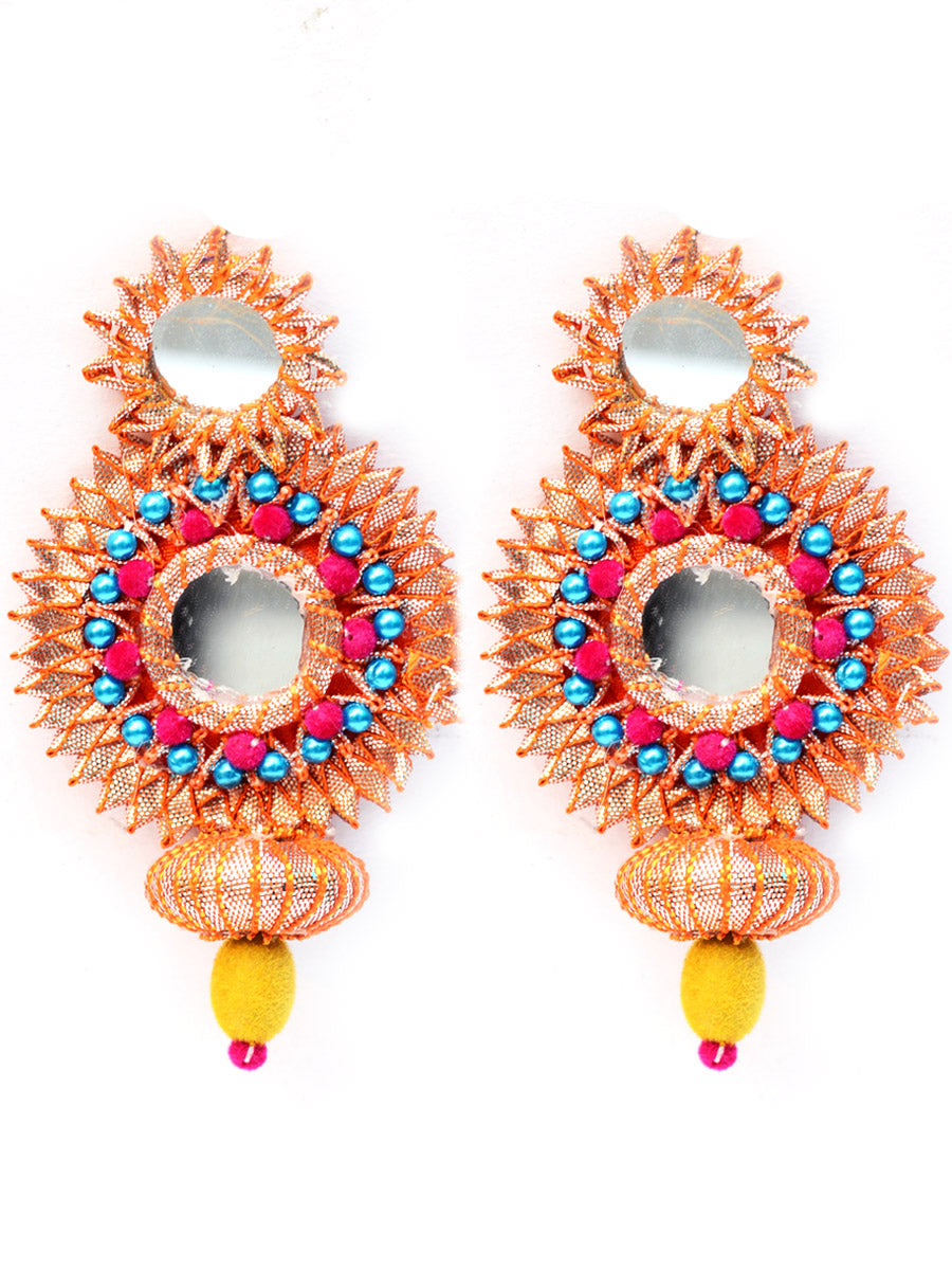 Mirror Gota Earrings, a beautiful gota patti earrings with mirror and bead detailing from our designer collection of earrings for women online.