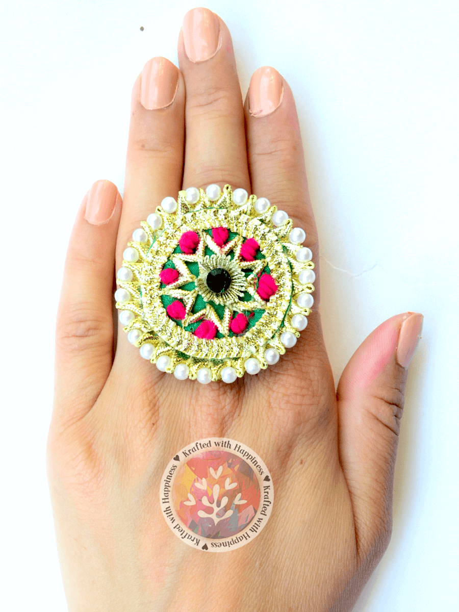 Elegance Gota Ring from our latest collection of designer hand embroidered rings for women online.