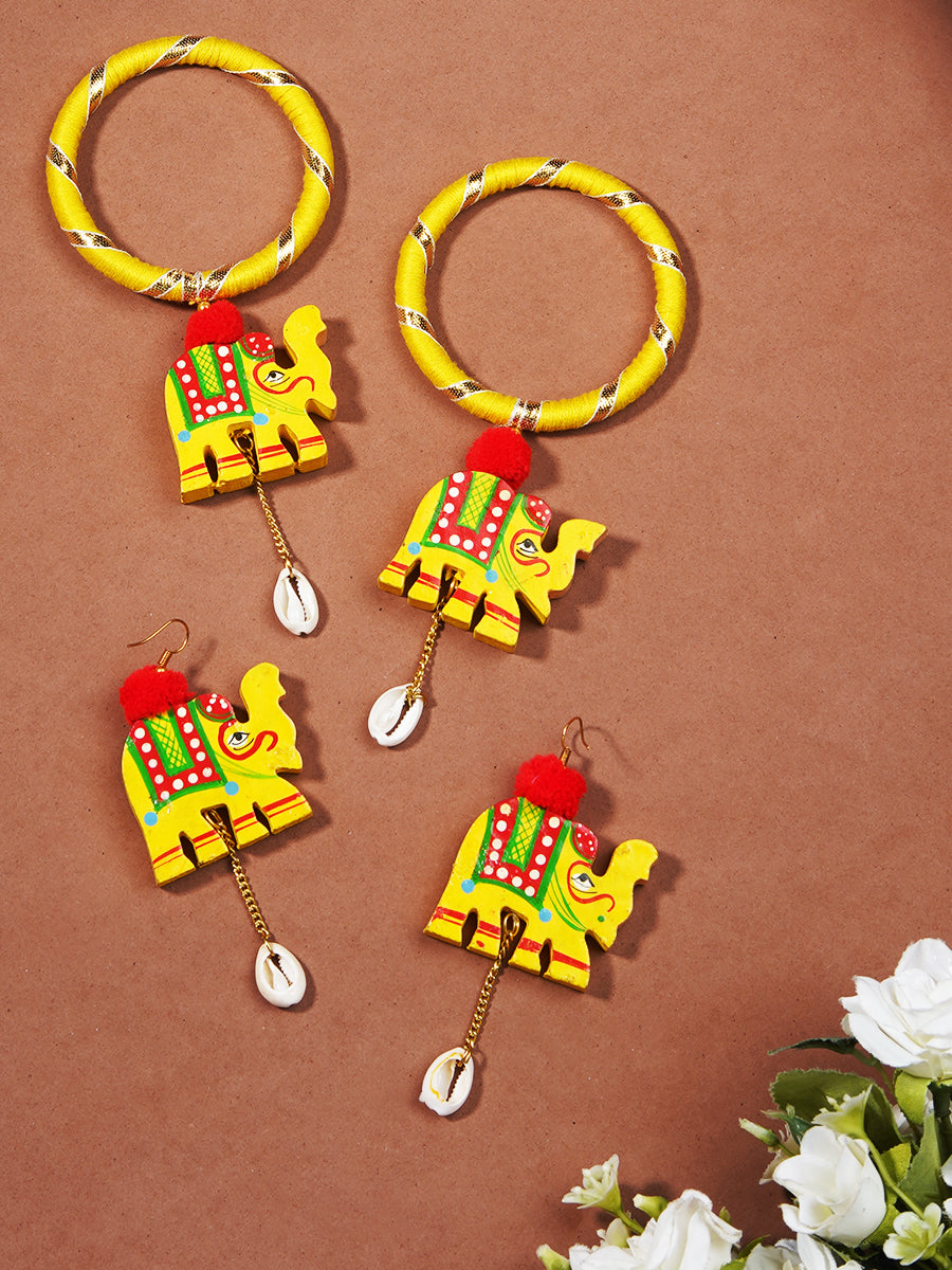 Seerat Handpained Set Of Shell Bangles + Earrings