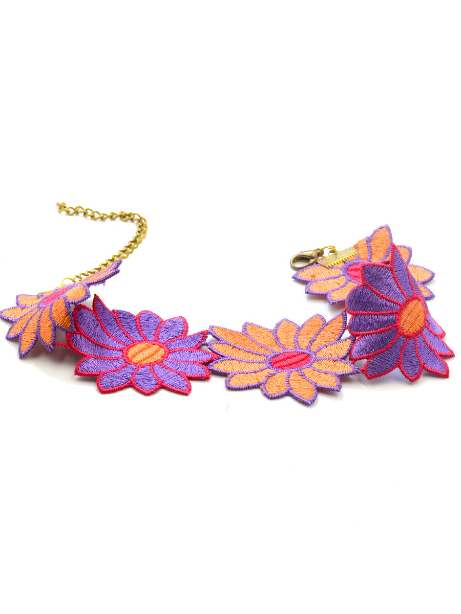 Colorful Daisy Choker, an embroidered choker necklace from our wide range of tassel necklaces, gota patti chokers, floral necklaces and bridal jewellery for women online.