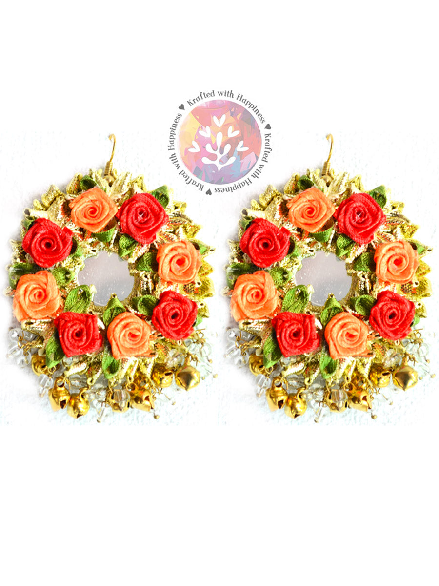 Flower Power Earrings, a handcrafted gota patti floral earring from our designer collection of earrings for women.