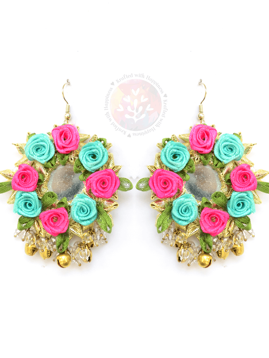 Flower Power Earrings, a handcrafted, ethnic Indian gota patti floral earring from our designer collection of earrings for women online.
