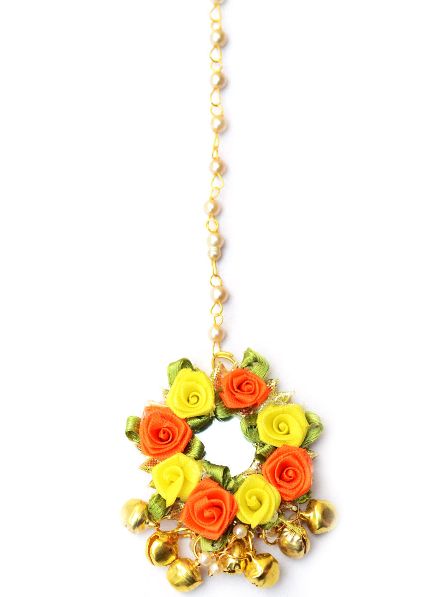 Flower Power Maang Teeka (Orange-Yellow), a contemporary, handcrafted maang tikka from our gota patti collection of maang tikkas with floral and ghungroo detailing for women online.