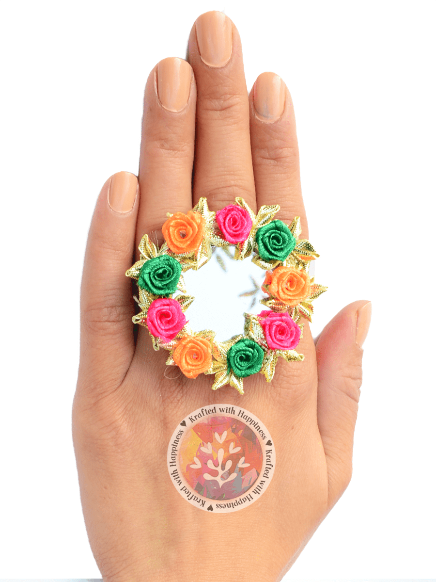 Flower Power Ring (Green-Pink)