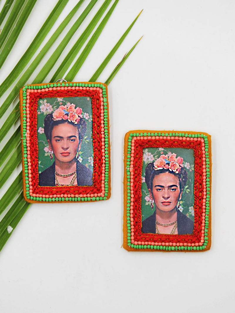 Fearless Frida Earrings, a beautifully hand-embroidered earring from our designer collection of boho, Kundan and tassel earrings for women.