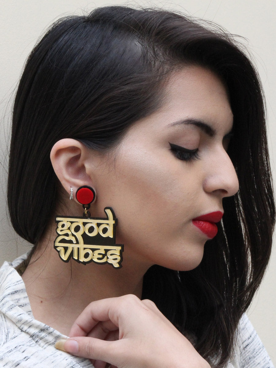 Good Vibes Earrings, a quirky, unique, statement party-wear earrings from our designer collection of earrings for women online.