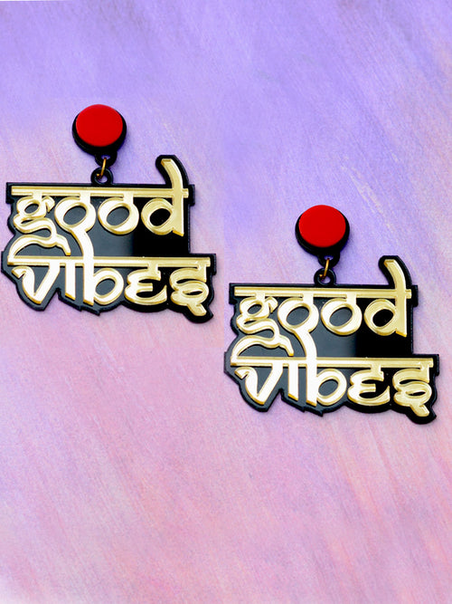 Good Vibes Earrings by kraftedwithhappiness