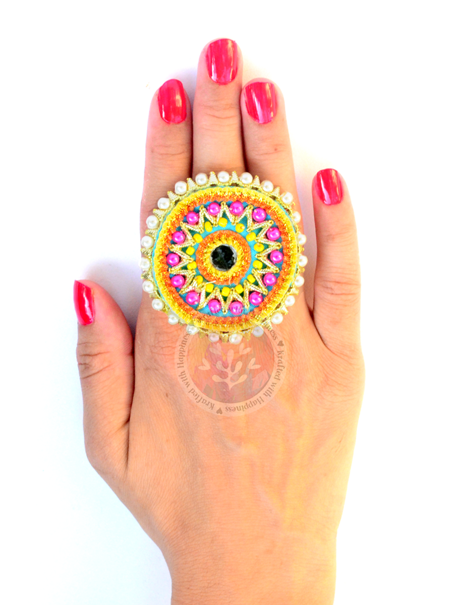 Festive Gota Ring 1, one of our unique, designer gota rings from our latest indian collection online.