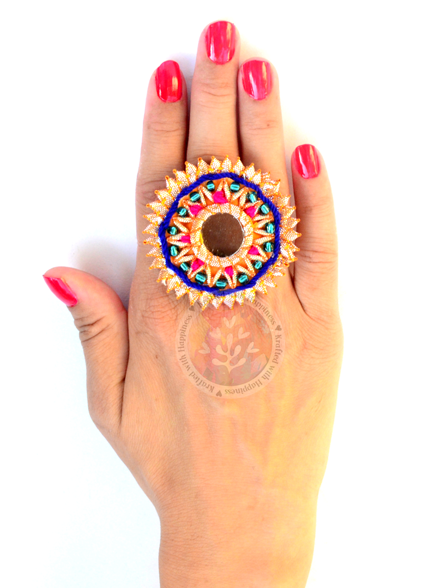 Festive Gota Ring 4 - A unique, hand embroidered, indian gota ring from our latest festive designer collection of rings online for women.