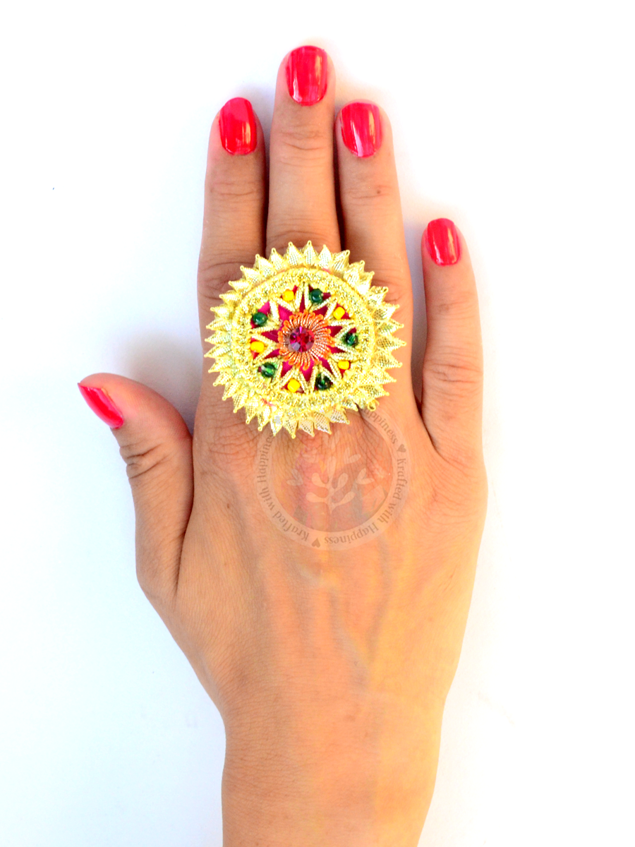 Festive Gota Ring 5, one of our unique indian gota rings from our festive collection of rings online for girls & women.