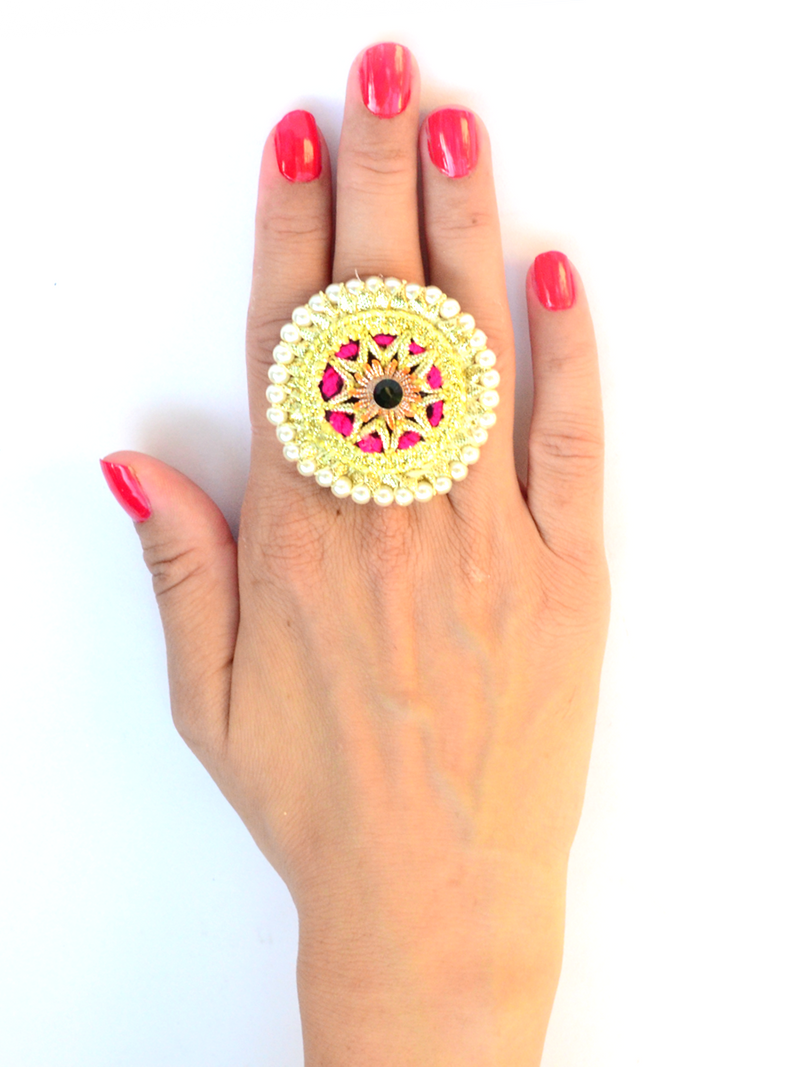 Festive Gota Ring 6, a designer indian gota ring from our festive collection of rings online for girls.