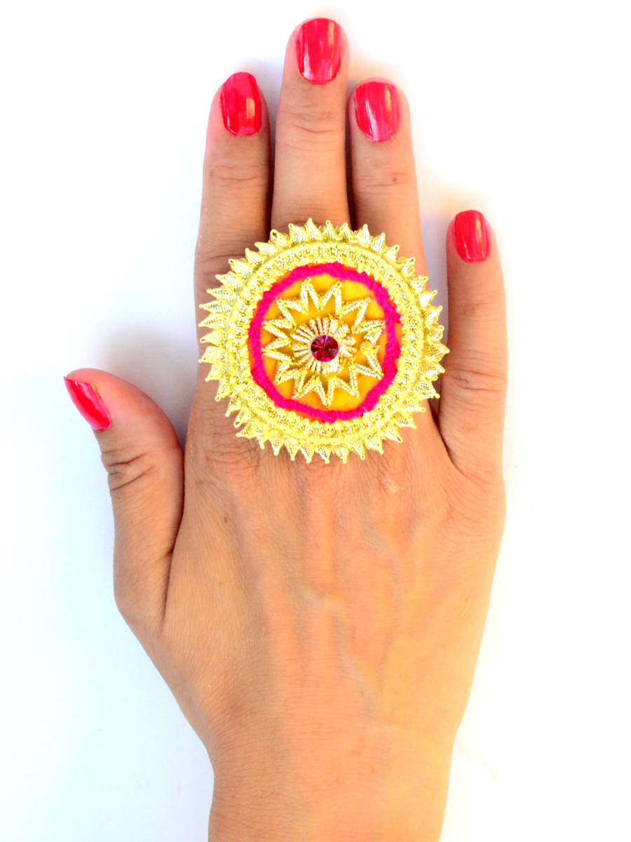 Festive Gota Ring 7, a designer, hand embroidered gota ring from our festive collection of rings online for girls.
