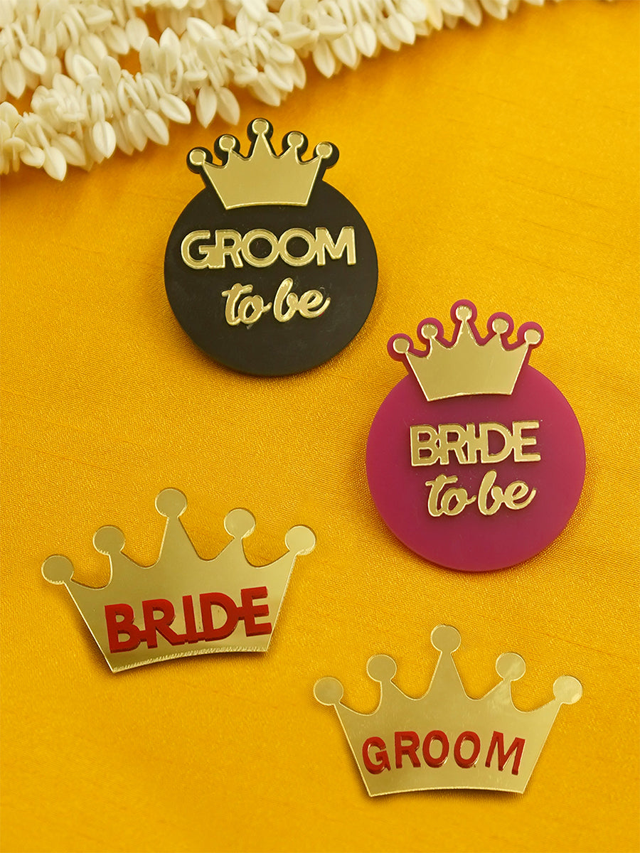 Groom To Be + Bride To Be + Bride + Groom Brooch Set of 4