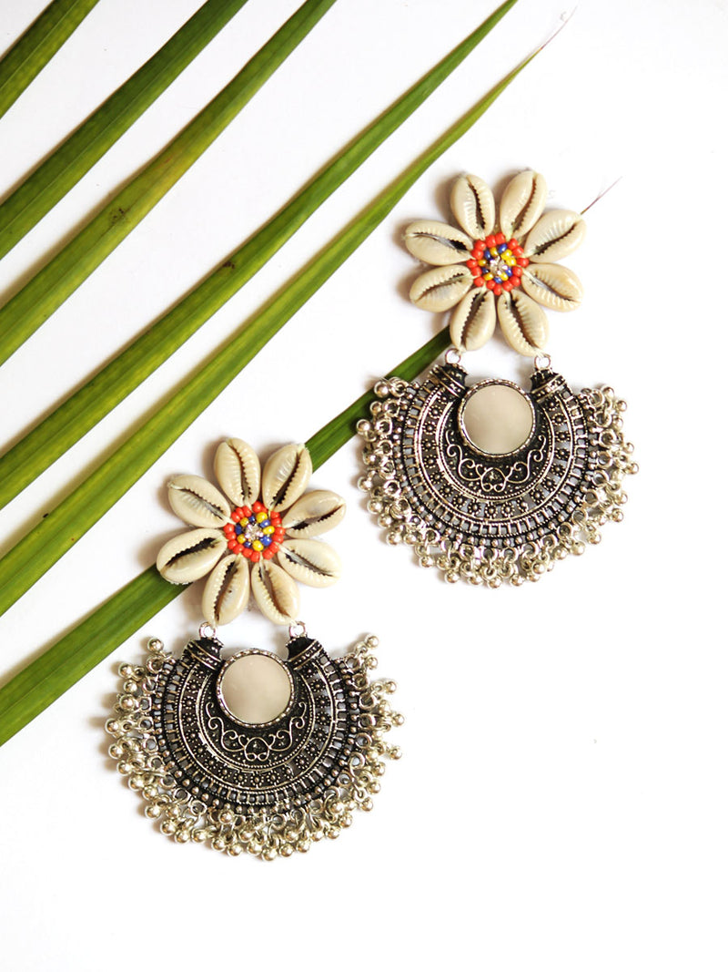 Kauri Flower Earrings, a hand-embroidered earring from our designer collection of boho, Kundan and tassel earrings for women.